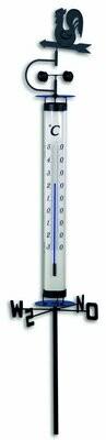 Gartenthermometer mit Wetterhahn und Windrad