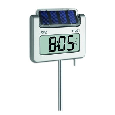 Gartenthermometer mit Solarbeleuchtung und Funkuhr AVENUE PLUS