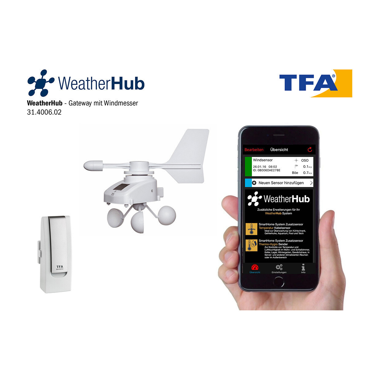 Starter-Set mit Funk-Windmesser WEATHERHUB