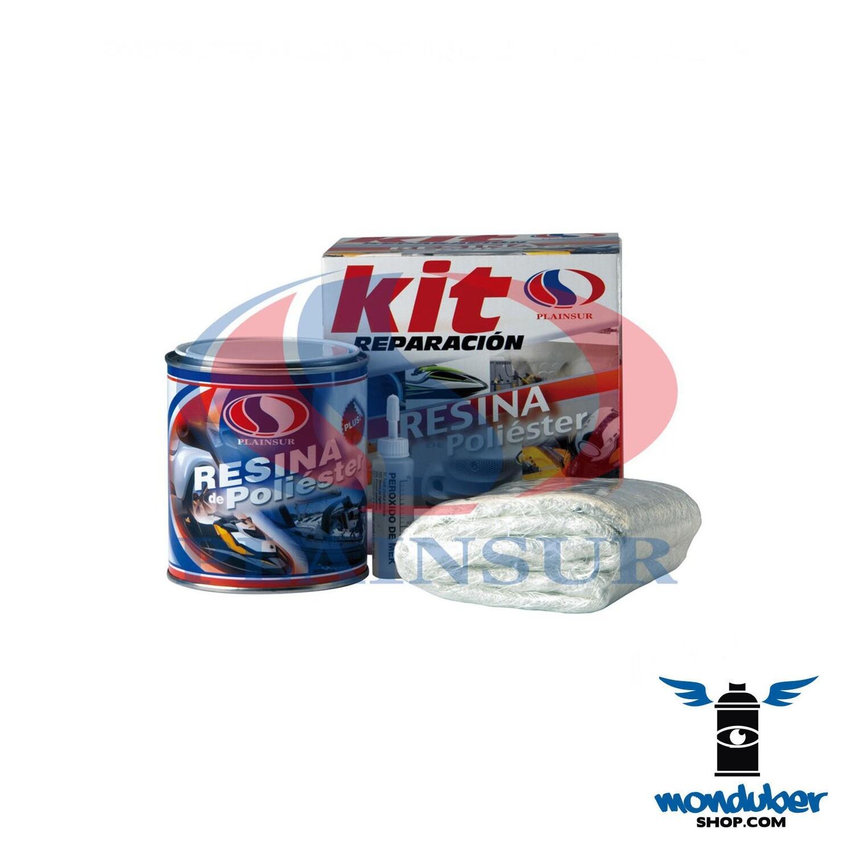Kit Reparación Resina Poliéster + Fibra + Catalizador