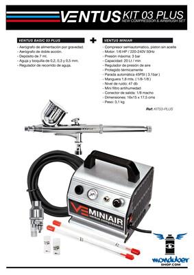 Ventus Kit 03 Plus - Kit de Compresor y Aerógrafo