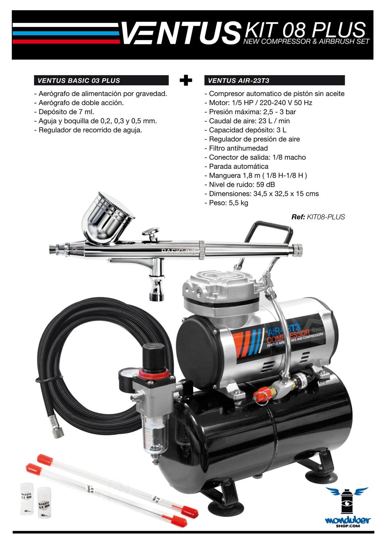 Ventus Kit 08 Plus - Kit de Compresor y Aerógrafo