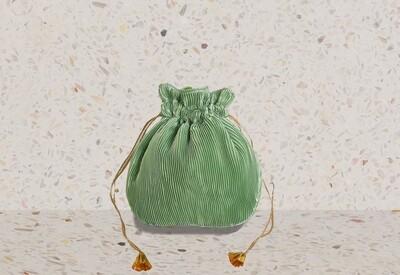 Mint Green pleated satin potli