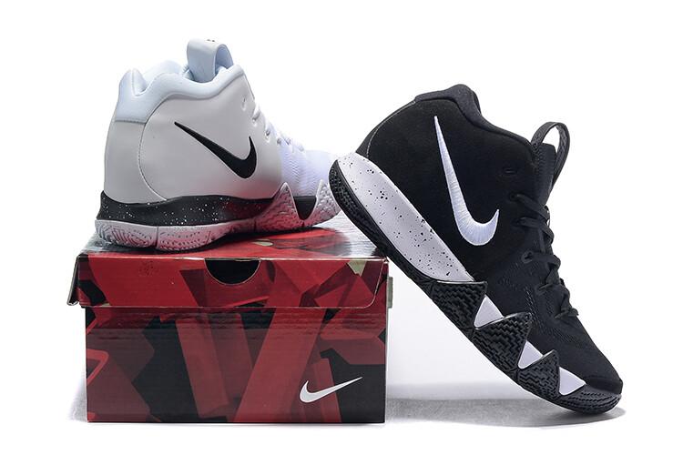 Men's Kyrie 4 Basketball Shoes Black White Twin