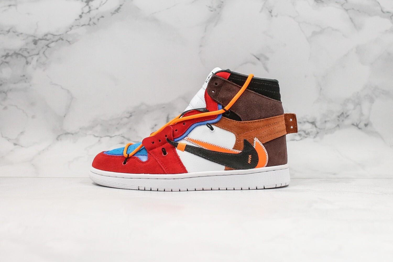 Men's/Women's OFF-WHITE x Futura x Jordan 1 AJ1 Brown Basketball Shoes Casual Life sneakers