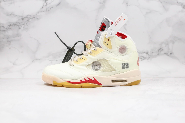 "Men's Off-White x Air Jordan 5 ""Sail"" Basketball Shoes Casual Life sneakers"