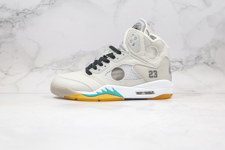 "Men's/Women's Off-White x Air Jordan 5 ""Grey"" Basketball Shoes Casual Life sneakers"
