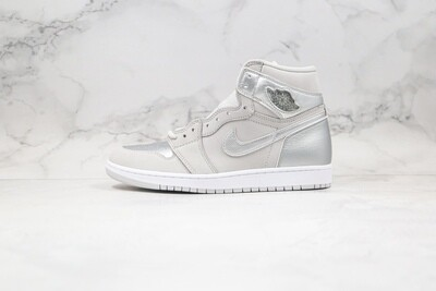 "Men's/Women's  Air Jordan 1 Retro High OG Japan ""Metallic Silver"" Basketball Shoes Casual Life sneakers"