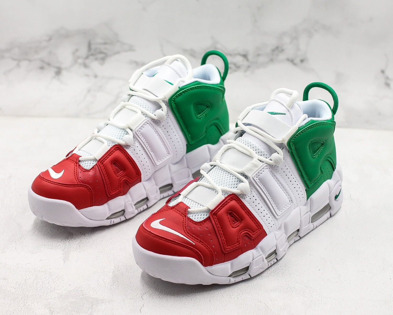 Air More Uptempo OG White/Red/Green Basketball Shoes