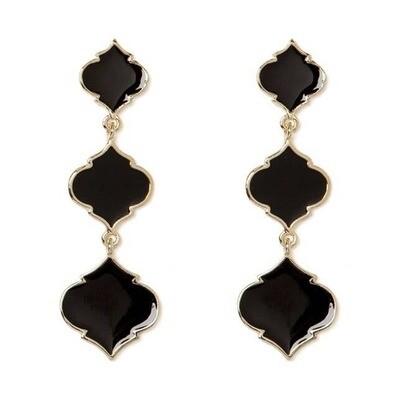 Black Enamel Triple Spade Earrings