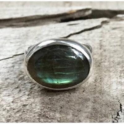 Green Labradorite Sterling Silver Ring, Size 7