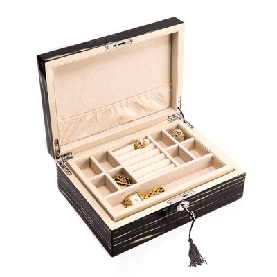 High Lacquered Ebony Wood Jewelry Box
