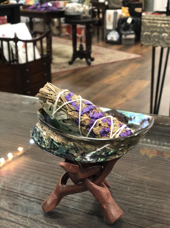 """Sage Smudge Kit, Purple 3 pc - Polished Pãua Shell 4-5"""" + Sage + Stand"""
