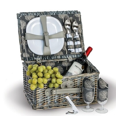 2 Person Grey Wicker Picnic Basket, 14 pc - Nonbreakable Dishes
