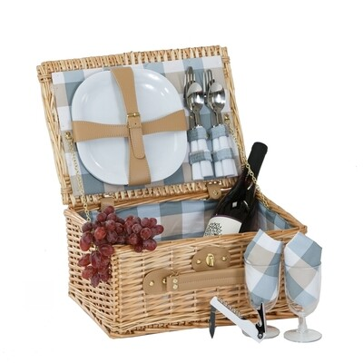 2 Person Natural Wicker Picnic Basket, 14 pc Nonbreakable Dishes