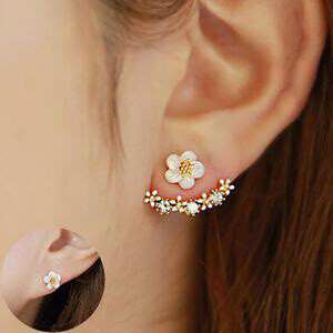 Rosey Studded Glam flower  Earrings