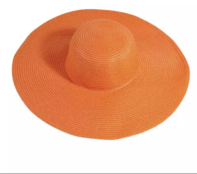 La Capitana Orange Straw Beach Hat