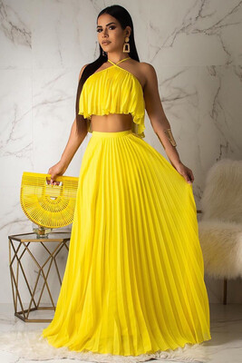 Trinity Two Piece pleated Maxi Skirt and Top Set