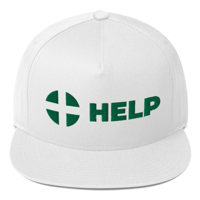 White HELP Flat Bill Cap