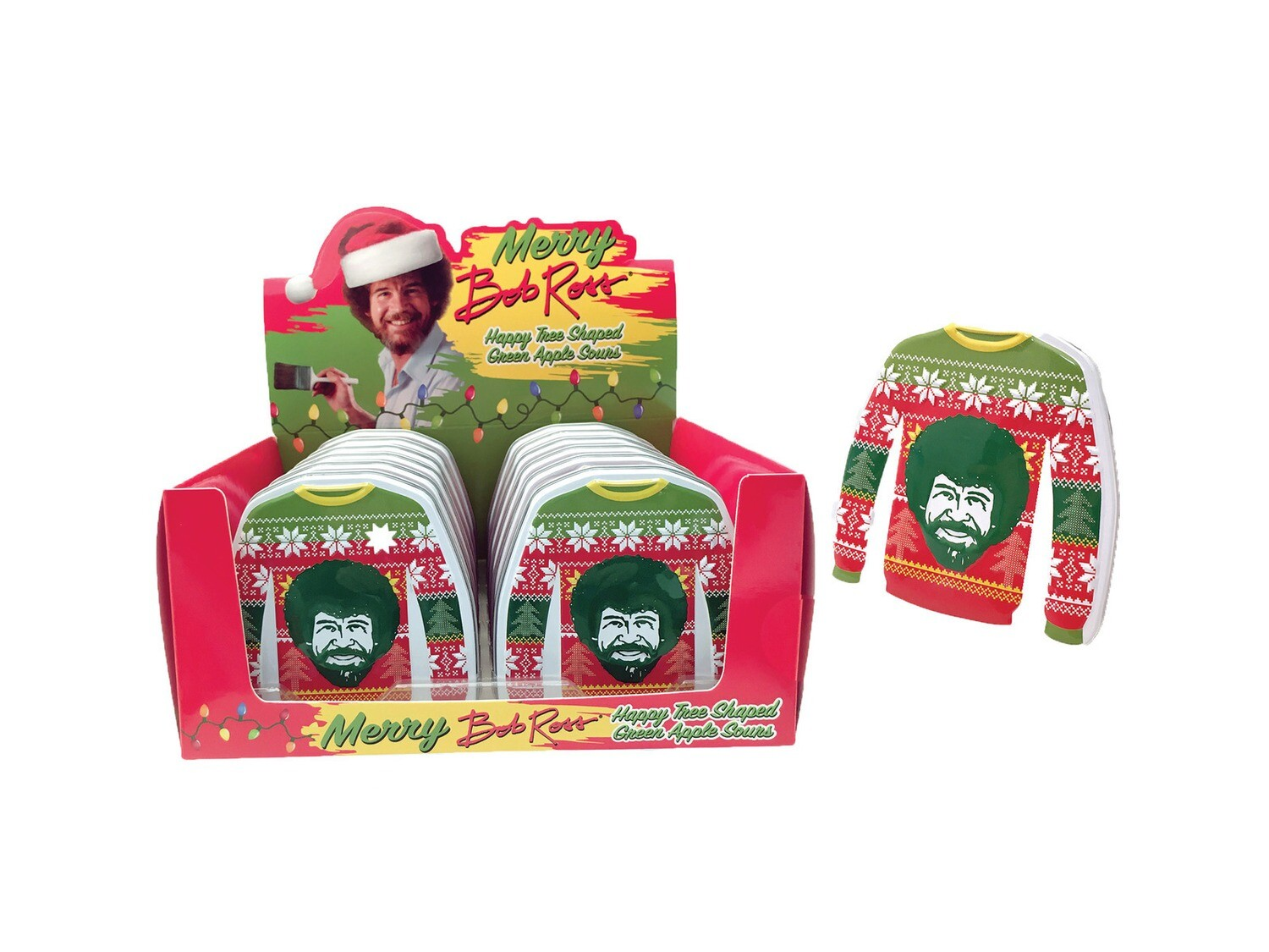 Bob Ross Ugly Sweater Happy Tree Shaped Green Apple Sours