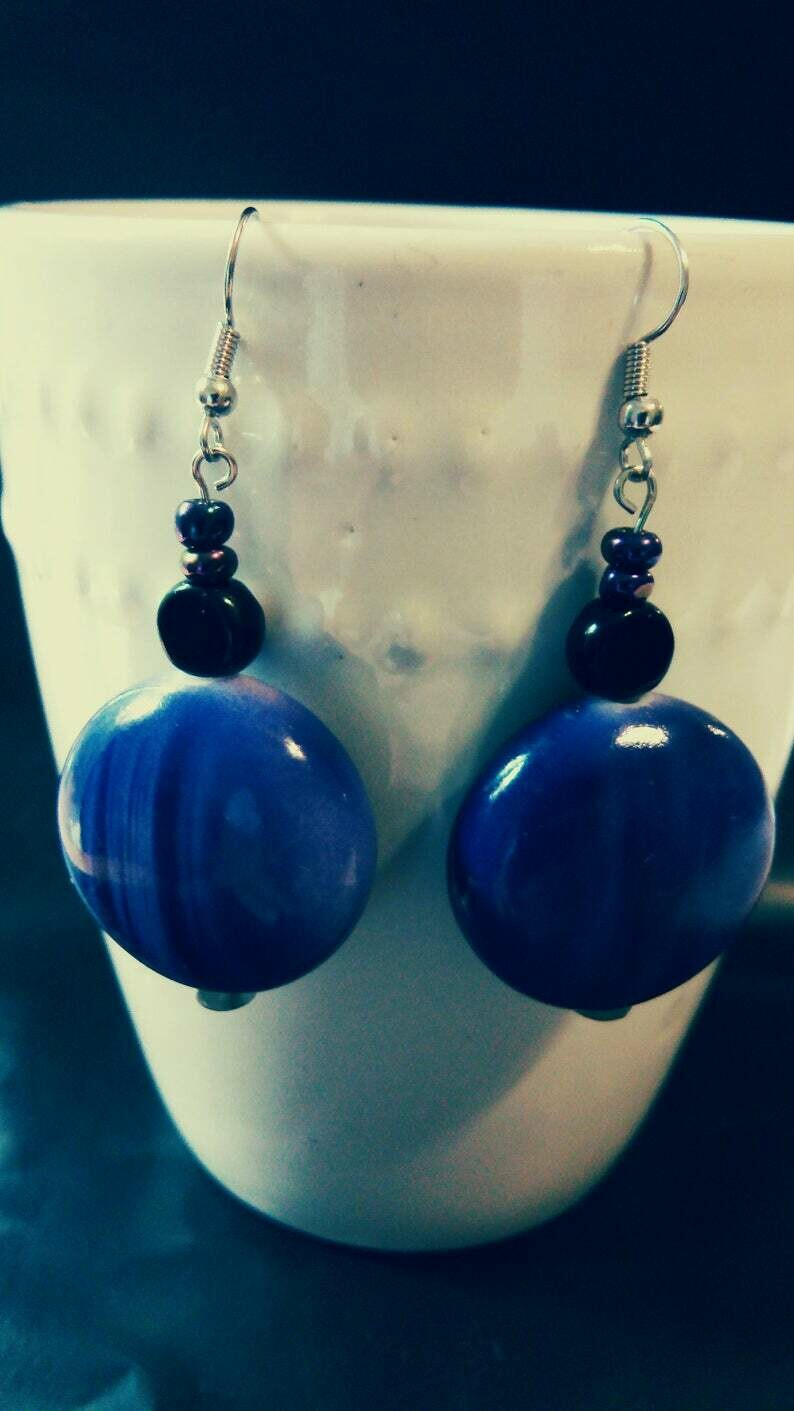Large Purple Beaded Dangle Earrings with Black Lentil Glass Accent