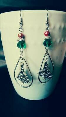 Teardrop Christmas Tree Earrings with a Festive Glass Bead Accent