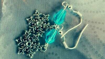 Silver Snowflake Pendant Dangle Earring with Icy Blue Bead Accent