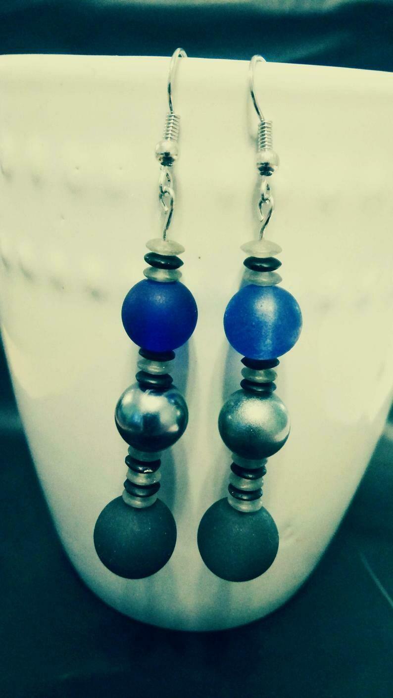 Long Dangle Beaded Earrings in Gray, Black, Blue and Metallic Colors