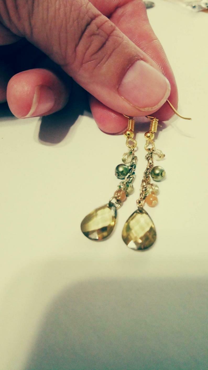 Gold Chain Beaded Teardrop Earrings