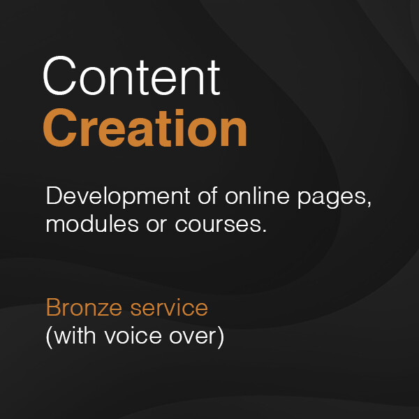 Development of online pages, modules or courses – Bronze service (with voice over)  from £2,500 plus VAT