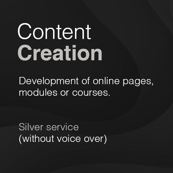 Development of online pages, modules or courses – Silver service (without voice over)  from £1,875 plus VAT