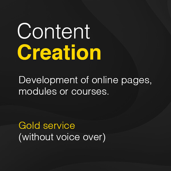 Development of online pages, modules or courses – Gold service (without voice over)  from £2,250 plus VAT
