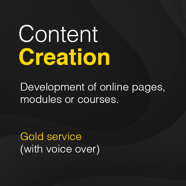 Development of online pages, modules or courses – Gold service (with voice over) from £3,500 plus VAT