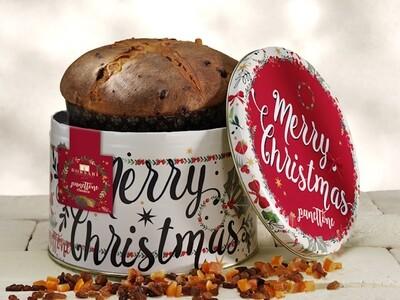 Panettone Classico basso  latta rossa Merry Christmas Borsari Code 3195