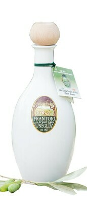 Olio Extra Vergine di Oliva BUON FRUTTO  100% italiano Frantoio Sant'Agata  ceramica bianca