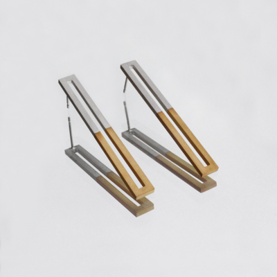 Silver elongated earrings dipped in 18 carat gold