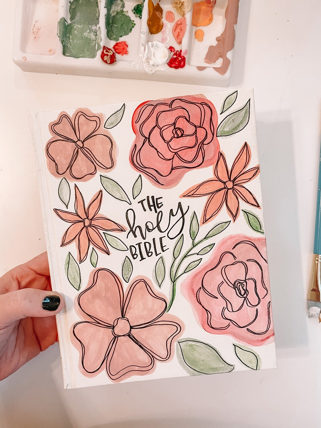 The Holy Bible Floral Watercolor Hand-Painted Bible ESV Single Column Journaling Bible