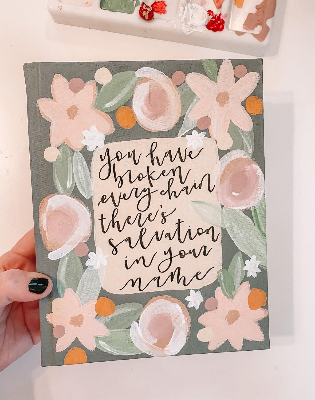 Broken Chain Floral Hand-Painted Bible ESV Single Column Journaling Bible