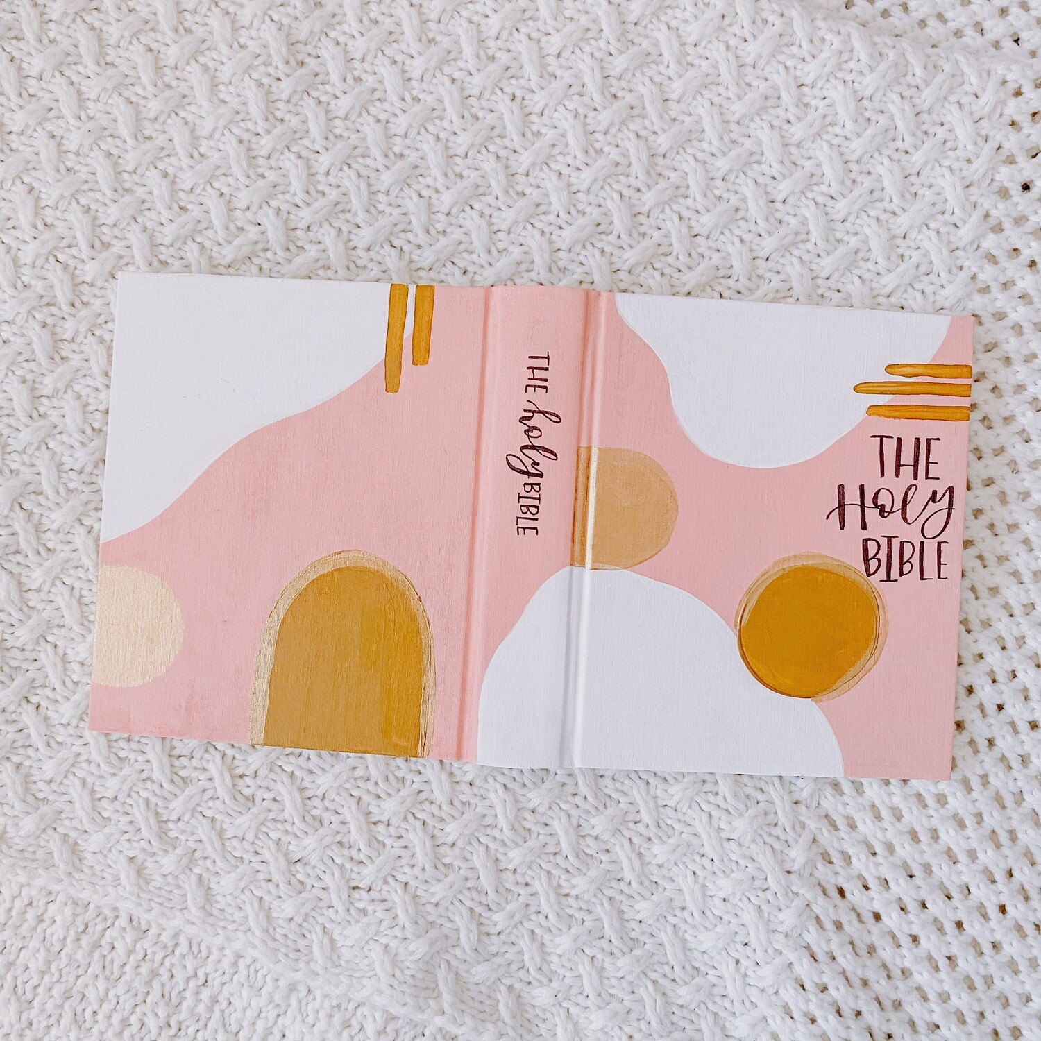 Pink and Gold Swatch Hand-Painted Bible ESV Single Column Journaling Bible