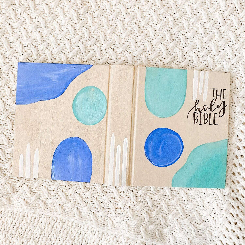 Blue and Aqua Swatch Hand-Painted Bible ESV Single Column Journaling Bible