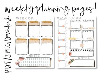 Two Weekly Planning Pages - Planner - PDF Download