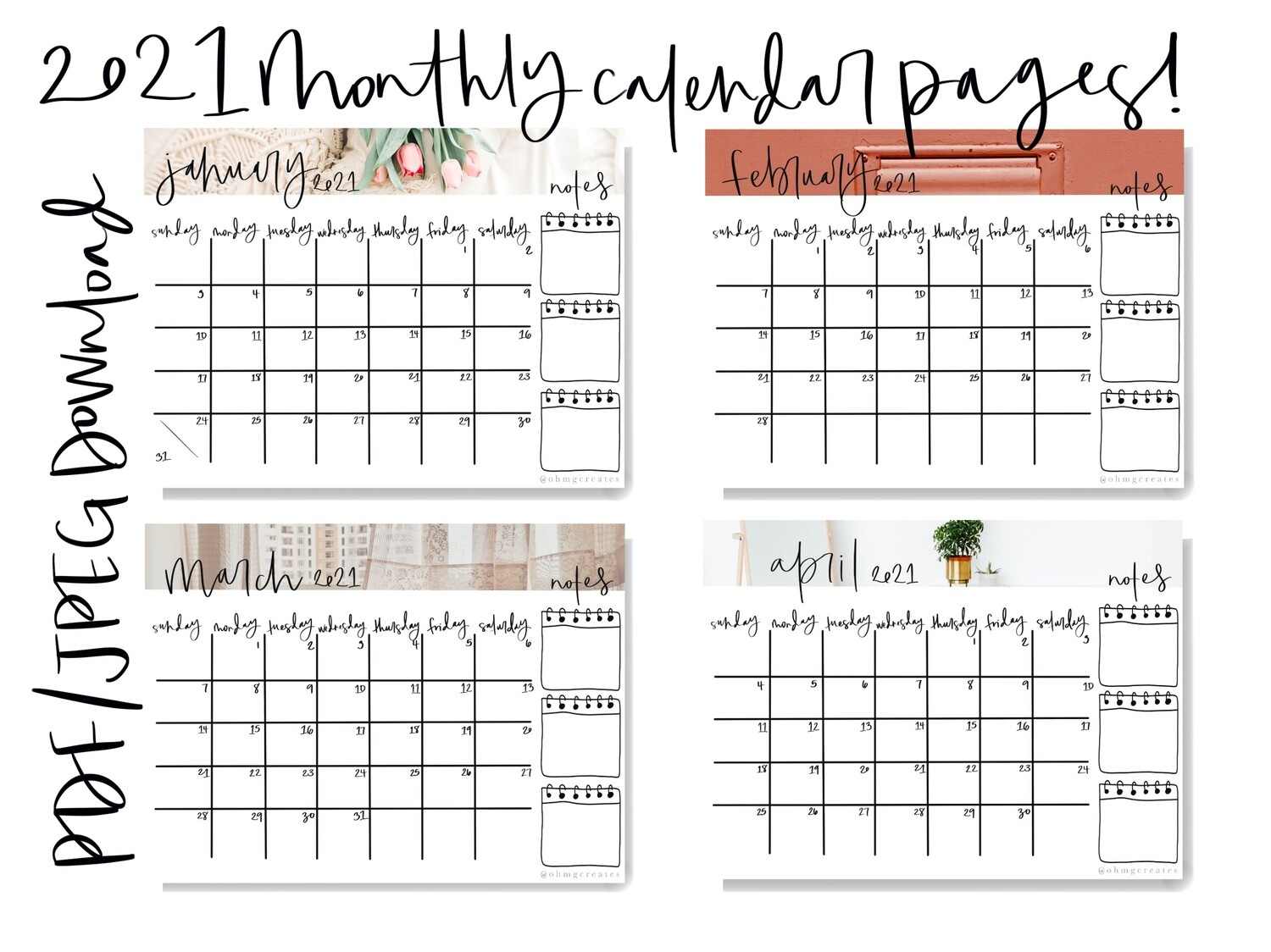 2021 Monthly and Weekly Planning BUNDLE - PDF Download