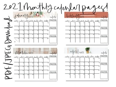 2021 Monthly Calendar Sheets - PDF Download