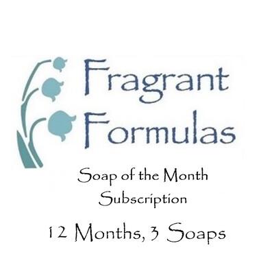 12 Months Subscription, 3 Soaps per Month