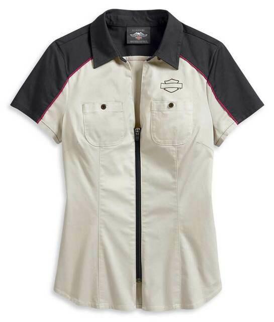Harley-Davidson Women's Colorblocked Zip-Front Shirt