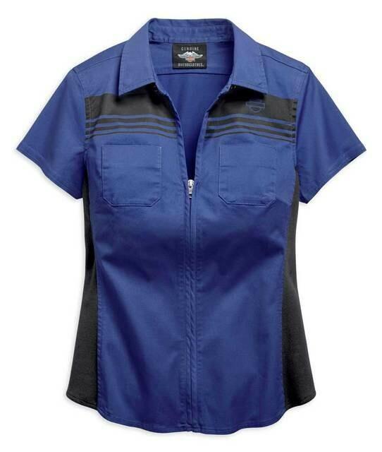 Harley-Davidson® Women's Zip-Front Chest Striped Shirt - Navy Blue