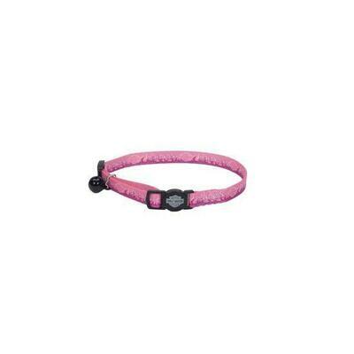 Harley-Davidson pink flames adjustable cat collar.