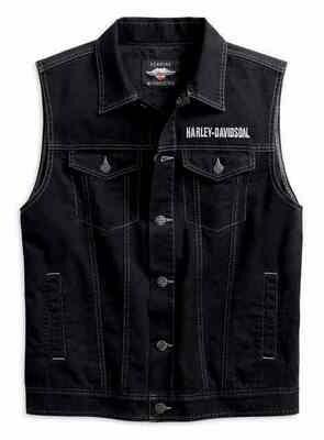 Harley-Davidson Men's Upright Eagle Denim Vest