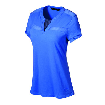 The Striped Mesh Accent Tee-BLUE