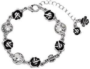 Harley-Davidson Womens Roses and Bar & Shield Crystal Bracelet
